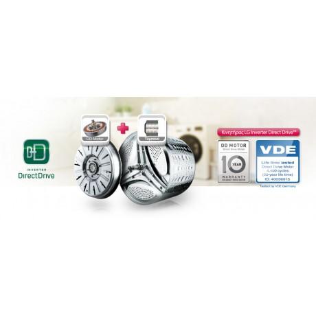 LG F4J6QY1W 6 Motion Direct Drive 7kg Στρ.1400 Ατμού  Κλάση: A+++